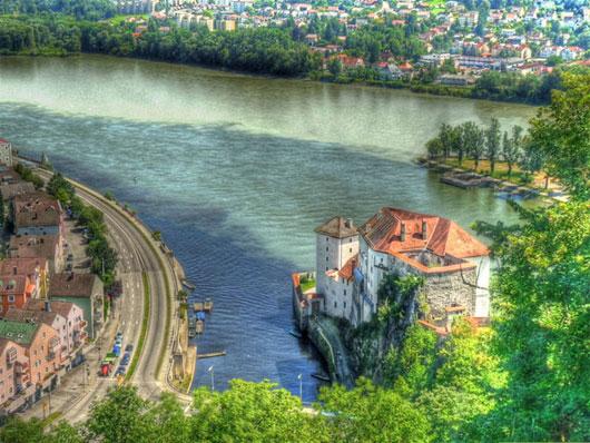 Sông Ilz, Danube và sông Inn hợp lưu tại Passau, Đức