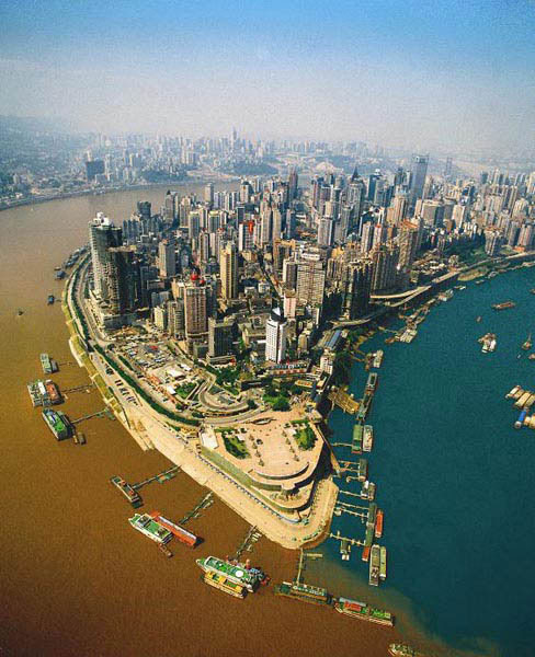 Sông Gia Lăng và Dương Tử ở Trùng Khánh, Trung Quốc