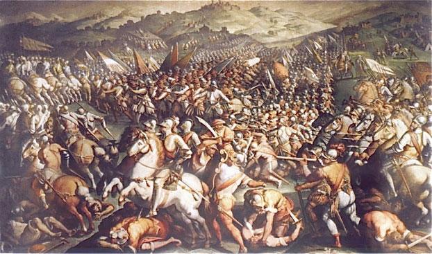 """Bức """"Battle Of Marciano"""" của danh họa Giorgio Vasari tại cung điện Vecchio ở thành phố Florence"""