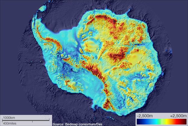 BEDMAP, bản đồ thể hiện phần đáy của Nam cực.