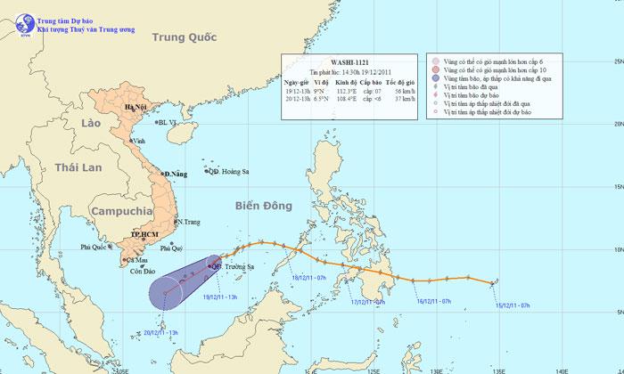 Bão Washi suy yếu thành áp thấp nhiệt đới