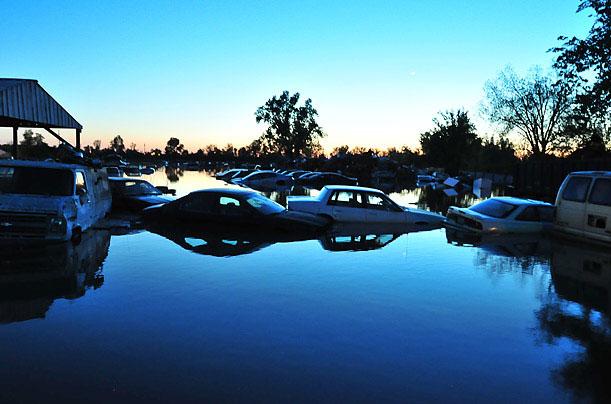 Lũ lụt ở Cairo, Illinois, Mỹ ngày 4/5/2011 nhấn chìm miền Nam bang Illinois và các bang lân cận.
