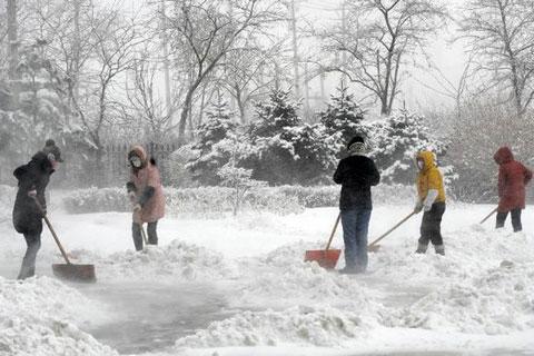 Những người khác được huy động dọn tuyết cho khu dân cư.