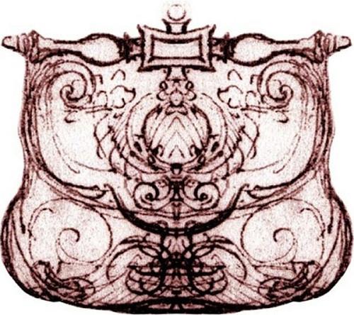 Bản vẽ phác thảo chiếc túi Pretiosa của Leonardo da vinci.