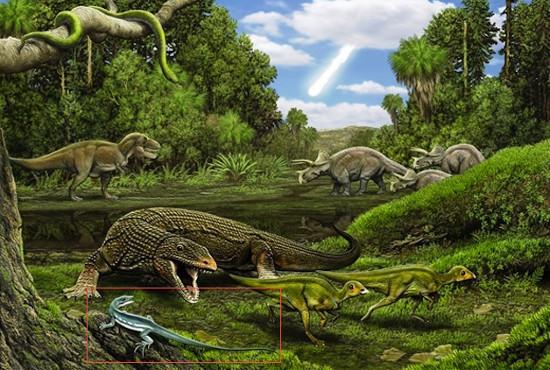 Hình minh họa thằn lằn Obamadon gracilis (trong hình chữ nhật) trong thời kỳ khủng long thống trị trái đất.