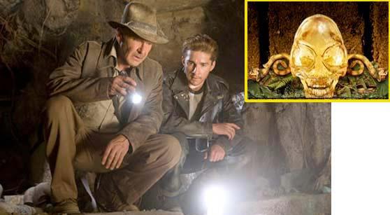 Hình ảnh săn tìm hộp sọ pha lê trong bộ phim Indiana Jones và Vương quốc sọ pha lê.