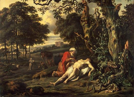 """Bức tranh mô tả câu chuyện """"người Samaritan nhân  hậu"""" trong Phúc Âm Luca."""
