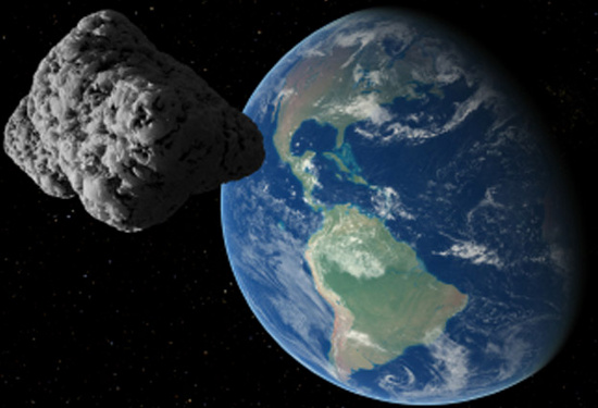 Hình minh họa một thiên thạch gần trái đất.