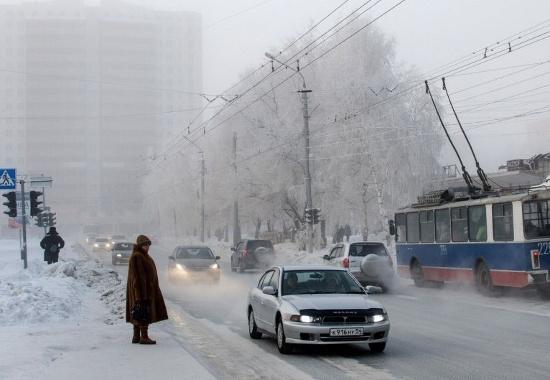 Thành phố Novosibirsk, vùng Siberia, Nga, ngập trong băng tuyết.