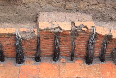 Nhiều cọc cừ đóng chắc chắn trong đường nước. Một số  chuyên gia cho rằng giống điểm khai quật tại Hàn Quốc.