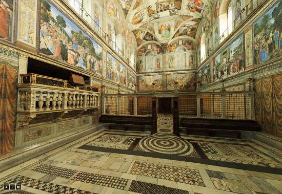 Một góc nhà nguyện Sistine Chapel.