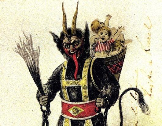 """Krampus có nghĩa là """"móng vuốt"""", và loài sinh vật này được miêu tả có vẻ ngoài là một con ma quỷ. Sinh vật này có nguồn gốc trong văn hóa dân gian Đức"""