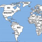 Việt Nam chuyển đến Bắc Cực nếu thế giới được sắp xếp lại theo dân số