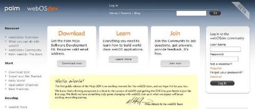 Palm công bố gói phát triển phần mềm Mojo SDK cho Hệ điều hành WebOS
