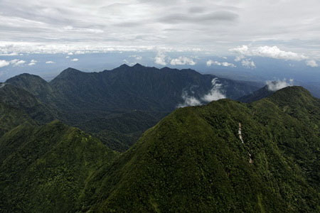 Quang cảnh khu vực rừng mưa nhiệt đới quanh miệng núi lửa đã tắt Bosavi.