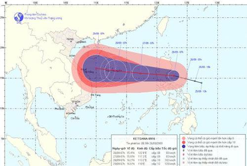 Áp thấp mạnh lên thành bão hướng vào miền Trung