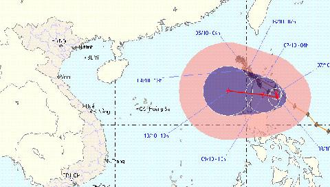 Bão số 10 ra khỏi biển Đông, vẫn hướng vào Việt Nam