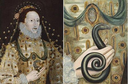 Rắn xuất hiện trong tranh nữ hoàng
