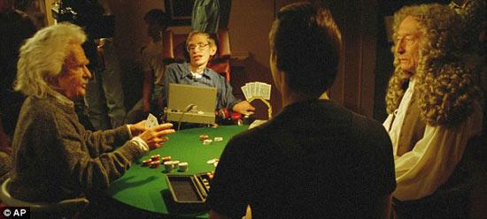 Một bức ảnh minh họa thể hiện Hawking ngồi với các vị khách trong quá khứ và tương lai.