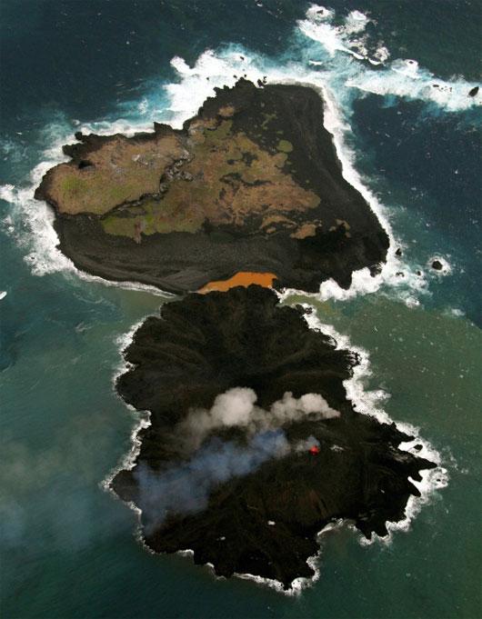 """Nhật: Đảo mới do núi lửa phun trào đang """"nở"""" gấp 8 lần"""