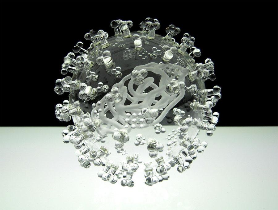 Vẻ đẹp của virus qua mô hình điêu khắc thủy tinh