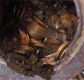 Mỹ: Tìm thấy 8 hũ tiền vàng khi dắt chó đi dạo