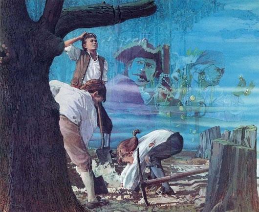 Ba chàng thanh niên đào bới tìm kiếm kho báu