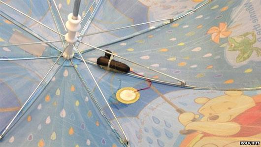 Dù thông minh thu thập dữ liệu mưa
