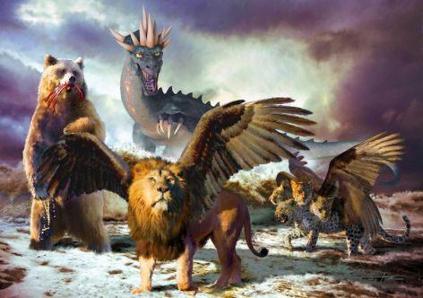 Hình vẽ 4 loài thú dữ xuất hiện vào ngày tận thế mô tả trong Book of Daniel