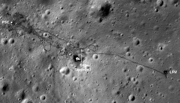 Vị trí cắm lá cờ trên Mặt trăng.
