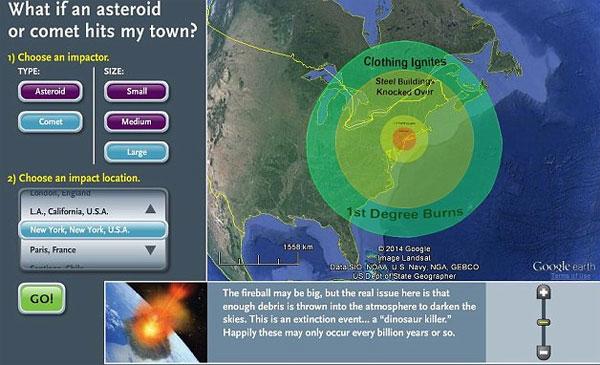 Phần mềm dự đoán tác hại của thiên thạch