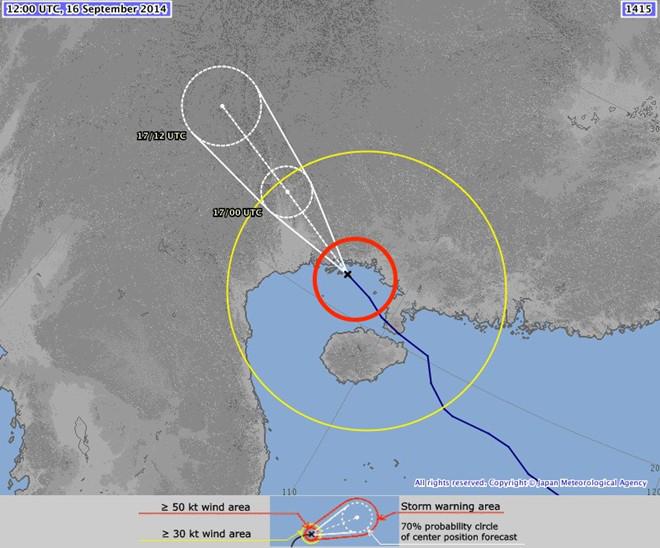 Vị trí bão Kalmaegi