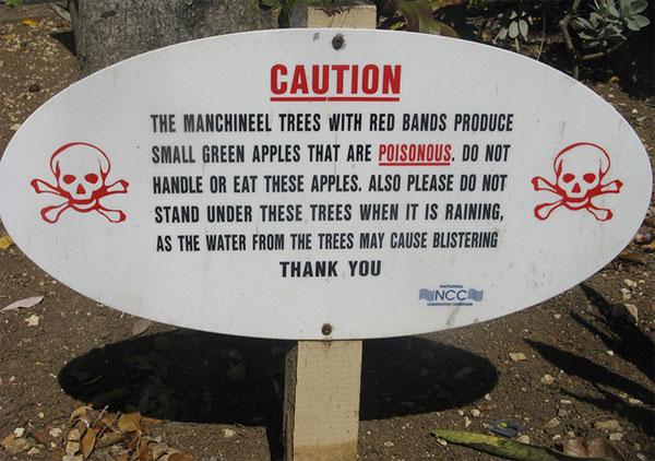 Biển báo về tác hại của cây manchineel
