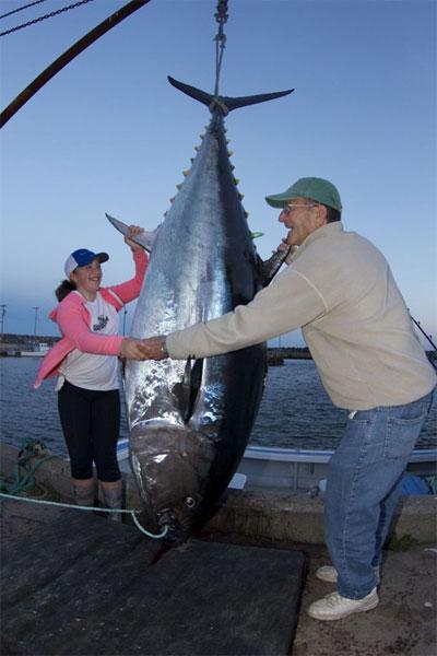 Cô bé bắt gọn cá ngừ khổng lồ nặng 280kg