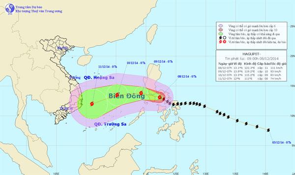 Bão Hagupit giật cấp 12 thẳng tiến biển Đông
