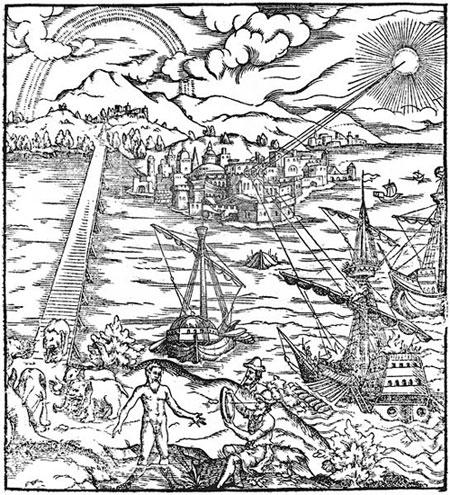 Một bức tranh miêu tả cách Archimedes đốt cháy những con tàu La Mã trước Syracuse bằng những tấm gương cầu parabol.