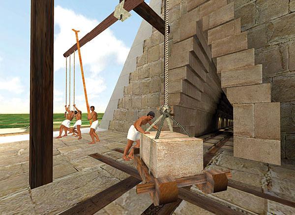 Giả thuyết đơn giản nhất đó là: người Ai Cập xưa đã sử dụng cần trục và ròng rọc để đưa các khối đá này lên cao.