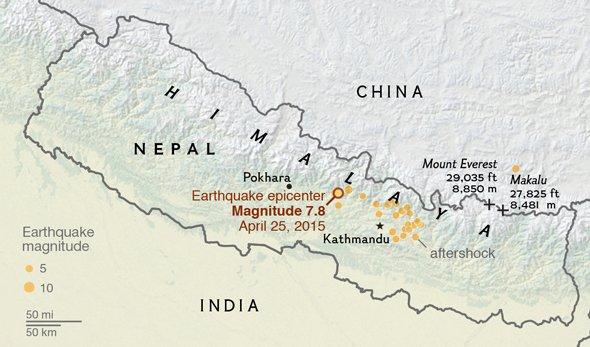 Đỉnh Everest thay đổi chiều cao vì động đất ở Nepal