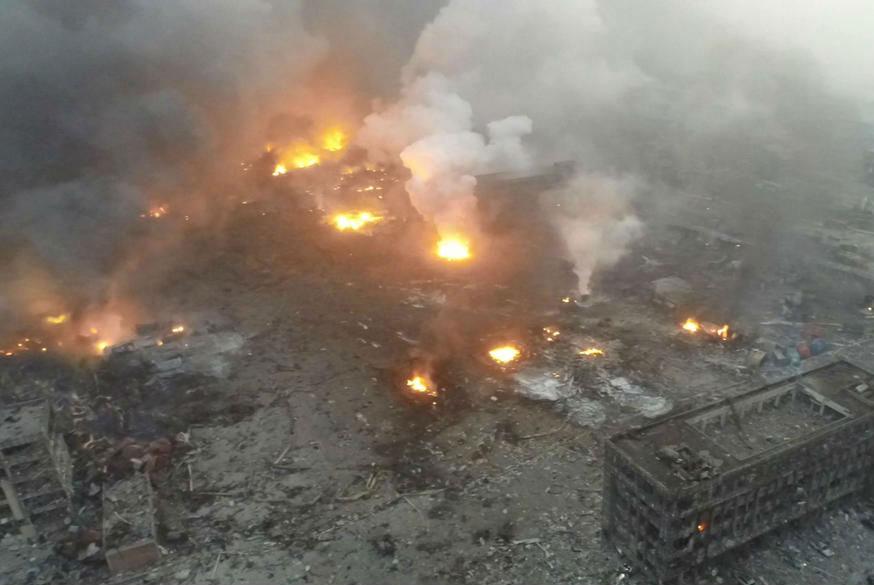 Hiện trường vụ nổ ở Trung Quốc nhìn từ trên cao