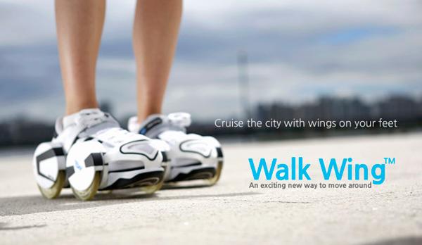 Walk Wings - bộ bánh xe gắn vào giày, đi hay trượt đều được