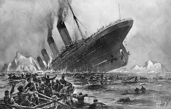 Cảnh tượng tàu Titanic đang chìm đắm do va phải băng ngày 14/4/1912