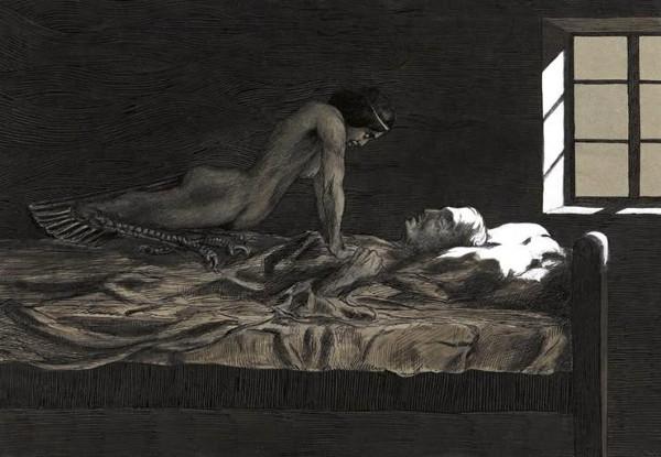 """Tranh vẽ mô tả hiện tượng bóng đè trong sách """"My dream, my bad dream"""" năm 1915 của Fritz Schwimbeck."""