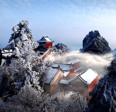 Chùm ảnh tuyết rơi sớm, phủ trắng núi Võ Đang