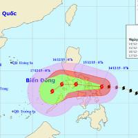 Bão Melor với sức gió mạnh nhất 185km/h hướng vào biển Đông