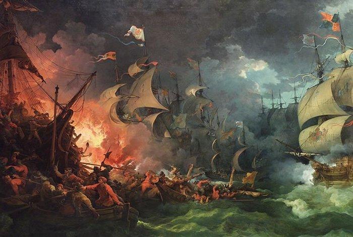 Hạm đội tàu Tây Ban Nha tan tác trước khi tràn vào Anh.