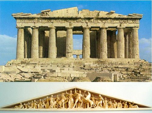 Ở cạnh phía đông của đền là những hình chạm khắc về cuộc chiến huyền thoại của các vị thần với người khổng lồ.