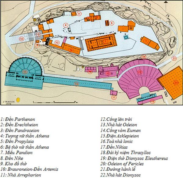 Toàn cảnh khu di sản thành cổ - quần thể đền đài Acropolis