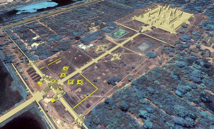 Vị trí 8 tòa tháp ở phía nam đền Angkor Wat.