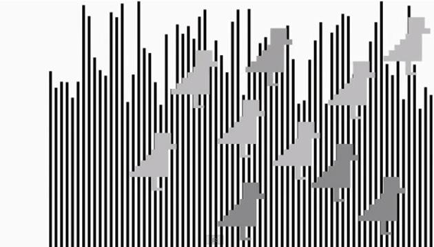 Ảo ảnh này là một hình chữ nhật di chuyển với một tốc độ không đổi phía trước các sọc đen trắng.