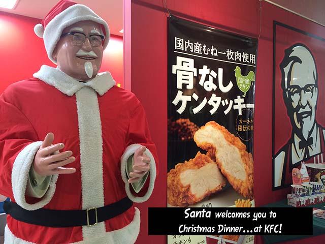 Thay vì ăn gà Tây như các nước phương Tây, người Nhật Bản có một truyền thống khá kỳ lạ vào Giáng Sinh đó là ăn gà rán Kentucky.
